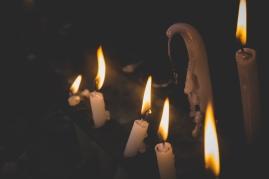 Lit candles melting